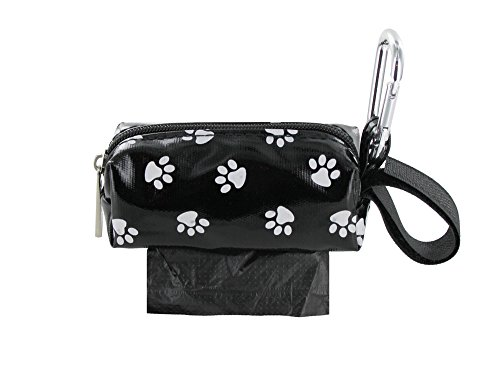 Doggie Walk Bags Dog Poop Bag Holder for Leash, Dog Waste Bag Dispenser with Metal Clip and Adjustable Strap for Any Leash, Tie Handle Bags