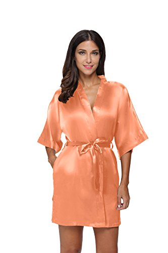 The Bund Women's Pure Colour Short Satin Kimono Robes with Oblique V-Neck, Large, Orange -
