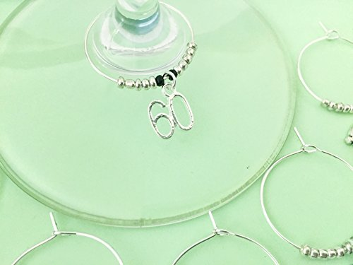 60th Birthday themed Wine Charms, Turning Sixty, Sixtieth Birthday, number 60 charm, Set of 6. SILVER BEADS.