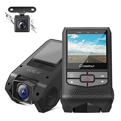 Crosstour Front and Rear Dual Dash Cam FHD 1080P Mini in Car DVR Dashboard Recorder with G-Sensor, HDR, Loop Recording, Motion Detection, Parking Mode, Screen Rotation (CR600) ()