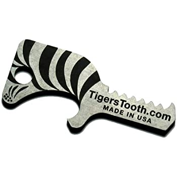 Tiger's Tooth Key Ring Bottle Opener - Stainless Steel minimalist keychain tool - Made in USA