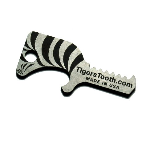 - Tiger's Tooth Key Ring Bottle Opener - Stainless Steel minimalist keychain tool - Made in USA