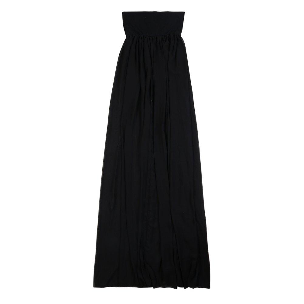 Enchanting Maternity Dress Chiffon Dress Gown Split Front Maxi Photography Dress for Photo Shoot(Black)