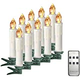 Taper Candles Battery Operated Taper Candles with Remote Led Flicker Warm White AA Battery Candles with Removable Clip Candlesticks Holders for Christmas Tree Birthday Party Long Lasting 10 Pack