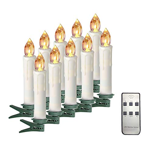 Candlestick Holder Double - Taper Candles Battery Operated Taper Candles with Remote Led Flicker Warm White AA Battery Candles with Removable Clip Candlesticks Holders for Christmas Tree Birthday Party Long Lasting 10 Pack