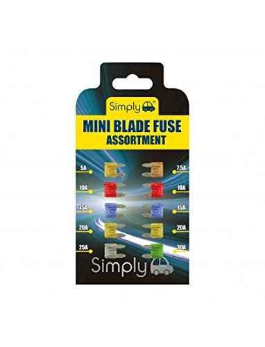 Simply BF820 Mini Blade Fuse Assortment, Set of 10, High Quality Alloy Blade Fuse, Ideal for Vehicle Use, 10 Pieces and 7 Types 5A 7.5A 10A 15A 20A 25A 30A Multi-Function Car fuse