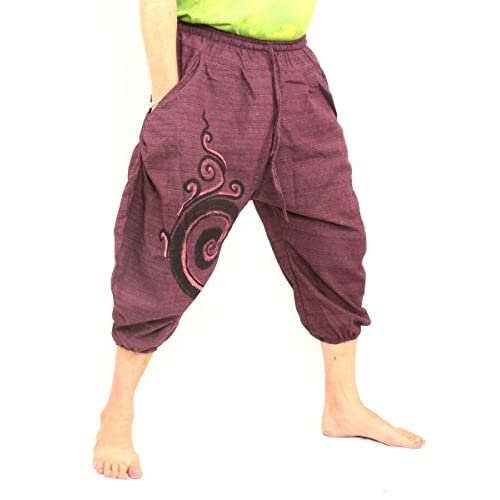 6b550167baf Jing Shop 7 8 Length Harem Pants - Cotton One Size With Swirl Print Unisex