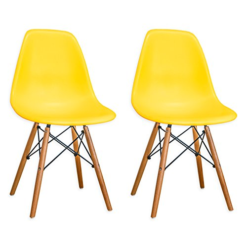Mod Made Mid Century Modern Armless Paris Dining Side Chair with Natural Wood Legs for Dining Room Living Room or Kitchen- Yellow (Set of 2)