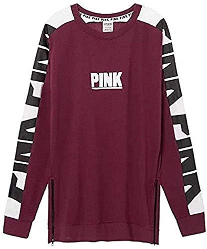 Pink New Oversize Varsity Sweatshirt Side-Zip Maroon/Burgundy NWT Large