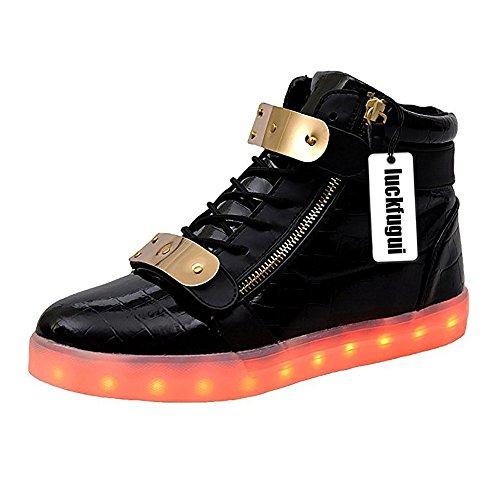 Luckfugui Uomo Donna Adulto In Metallo High Top Usb Led Light Up Scarpe Sneakers Lampeggianti, Scarpe Hiphop, Scarpe Da Ballo Di Strada Nere