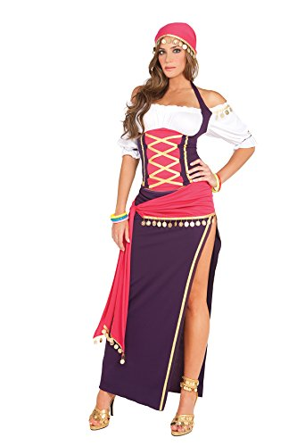Gypsy Maiden Costume Off Shoulder Halter Top, Skirt, Sash, Head Scarf, Bracelets