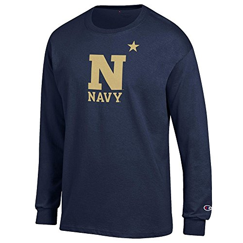 Elite Fan Navy Midshipmen Men's Long Sleeve Arch Tee Shirt, Navy, XX -