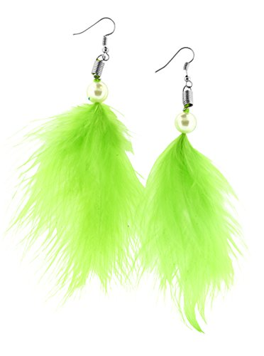 Unique Cute Beaded Feather Earrings Sexy Fashion Jewelry for Women Teens Girls (Faux Pearl Green)