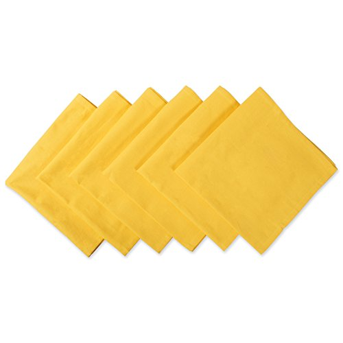 DII 100% Cotton Cloth Napkins, Oversized 20x20'' Dinner Napkins, For Basic Everyday Use, Banquets, Weddings, Events, or Family Gatherings - Set of 6, Marigold Yellow by DII