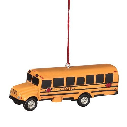 - School Bus Resin Hanging Christmas Ornament - Size 3.75 in.