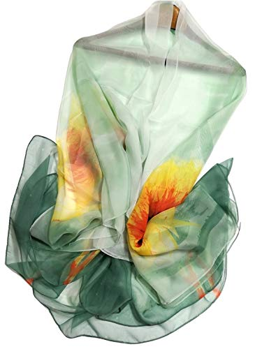 Shanlin Super Large Silk Feel Floral Scarves for Women in Gift Box (Dahlia-Green)
