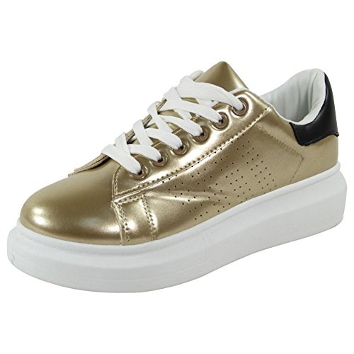 New Ladies Running Trainers Womens Fitness Gym Sports Inspired Shoes Size 3-8 Gold KEEyVn
