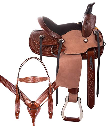 """AceRugs 12"""" Size 13"""" Size Rough Out Western Roping RANCHING Youth Kids Children Horse Saddle TACK Set Premium Leather (Barrel, 13) -"""