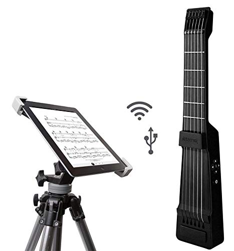 Jamstik+ Black Portable App Enabled MIDI Electric Guitar, for Beginners and Music Creators, iOS, Android & Mac Compatible with Bluetooth Connectivity and a Universal Tripod with iPad Mounting Solution