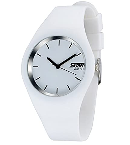 Gosasa Casual Simple Style Silicone Strap women Sports Watches 30M Waterproof (White) (Sport Watches Womens White)