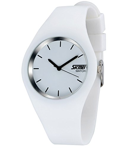 Gosasa Casual Simple Style Silicone Strap women Sports Watches 30M Waterproof (White) (Watch Rubber)
