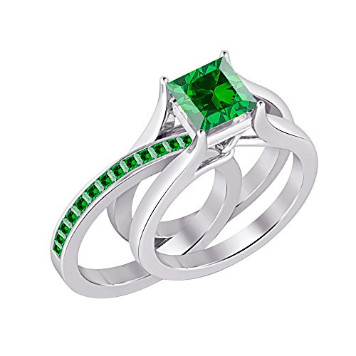 Gold & Diamonds Jewellery 1.85 ct.tw Princess Cut Created Emerald 925 Sterling Silver Interchangeable Wedding Ring Set For Women's Ct Tw Diamond Emerald Ring