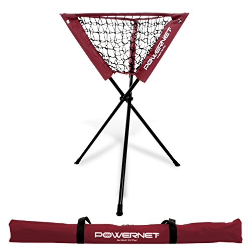 PowerNet Baseball Softball Portable Batting Practice Ball Caddy (Maroon) | Use During Training and Drills | Save Your Back No More Bending | Holds up to 60 Baseballs | Instant (Batting Practice Ball)