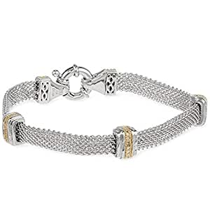 Two Tone White and Yellow 18k Gold Plated Mesh Chain Bracelet
