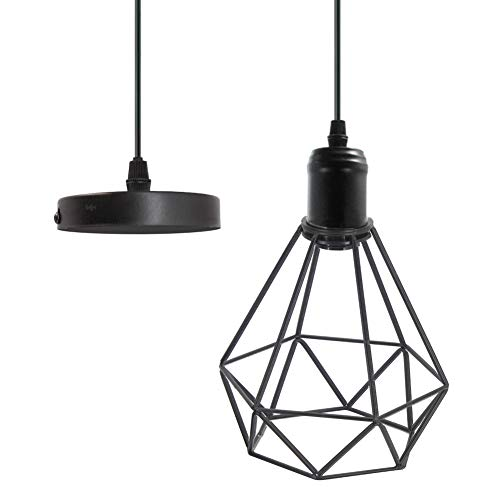 (Polygon Pendant Lighting Geometric Light Fixture Vintage Industrial Loft Hanging Wire Metal Basket Cage Ceiling Light Retro Diamond Shaped Hanging Lamp Black for Kitchen Island Bedroom Restaurant Bar)