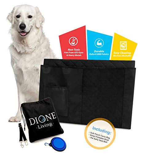 Dione Living Pet Car Back Seat Cover - Hammock Style Rear Seats Protector for Dogs - Includes Portable Travel Bowl and Pets Safe Belts - Compatible with Most Vehicles - Trucks Jeep SUV and BMW