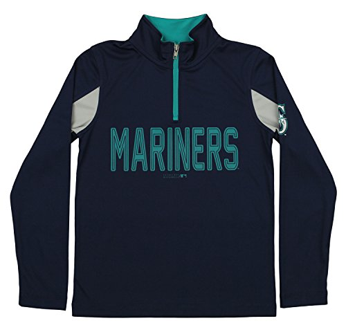 Outerstuff MLB Youth Boys 1/4 Zip Performance Long Sleeve Top, Seattle Mariners, ()