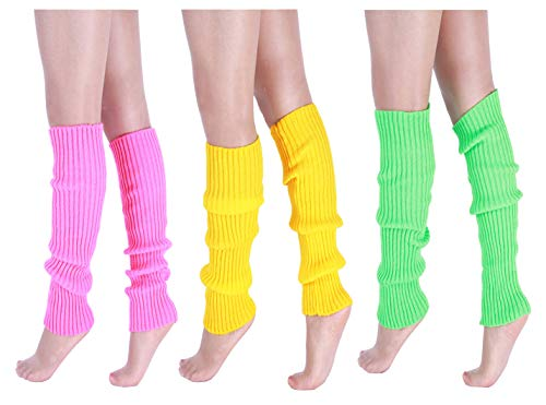 (CHUNG Adult Women Juniors Knitted Leg Warmers Neon Party)