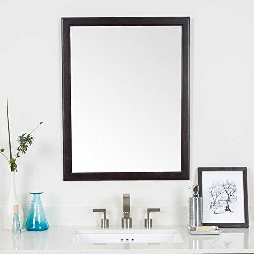 """MAYKKE Chloe 30"""" H x 24"""" W Rectangle Brown Wall Decor Bathroom Vanity Mirror, Wood Framed Mirrors for Wall in Chocolate Birch Finish, YSA7824005 from Maykke"""