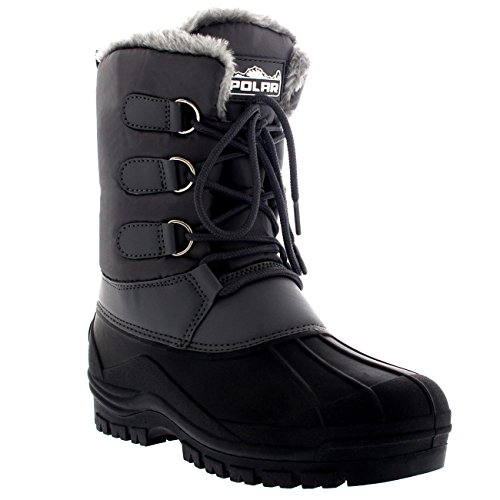 Mens Muck Lace Up Short Nylon Winter Snow Rain Lace Up Casual Duck Boots Gray cllcXz2U