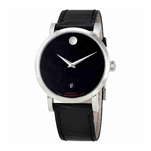 Movado Museum Red Label Black Dial Black Leather Mens Watch 0606114