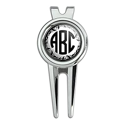 Graphics and More Personalized Custom Golf Divot Repair Tool and Ball Marker - Monogram Circle Font Vine Outline