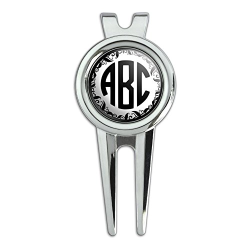 Graphics and More Personalized Custom Golf Divot Repair Tool and Ball Marker – Monogram Circle Font Vine Outline
