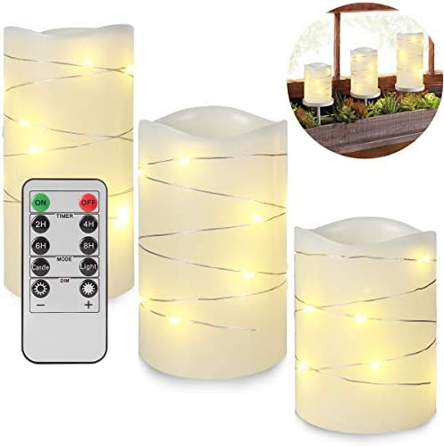 Flameless Candles with Remote,Battery Operated LED Candles with Embedded String Lights,Ivory Real Wax Pillar LED Candles with 10-Key Remote and Cycling 24 Hours Timer