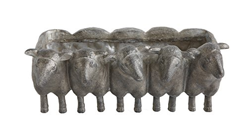 Creative Co-op DA7782 Resin Sheep Planter with Distressed Iron ()