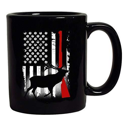 Deer Antlers Gun Hunting American Flag Patriotic Black Coffee Mug (Black, 11 oz)