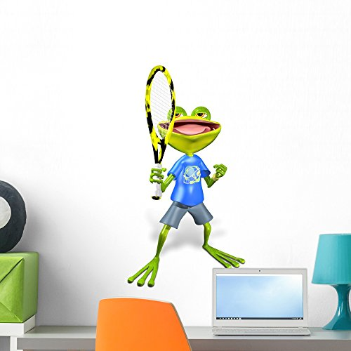 (Wallmonkeys Frog Tennis Wall Decal Peel and Stick Graphic WM59596 (24 in H x 20 in)