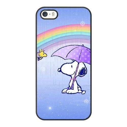 Grouden R Create and Design Phone Case, Snoopy Cell Phone Case for iPhone 5 5S SE Black + Tempered Glass Screen Protector (Free) LPC-8032378