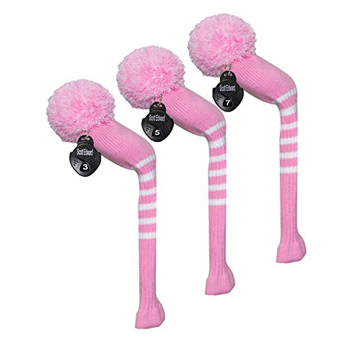 Scott Edward Golf Fairway Woods Club Head Covers, Stripes Knitted, Acrylic Yarn Double-Layers Knitted, 3 Pieces Packed, with Rotatable Number Tags, 9 Colors Optional (Pink)