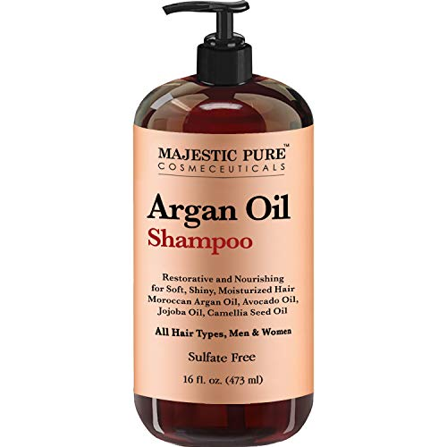 Argan Oil Shampoo by Majestic Pure - Vitamin Enriched Gentle Hair Restoration Formula for Daily Use, Sulfate Free, Moroccan Oil & Potent Natural Ingredients, for Men and Women 16 fl. oz.