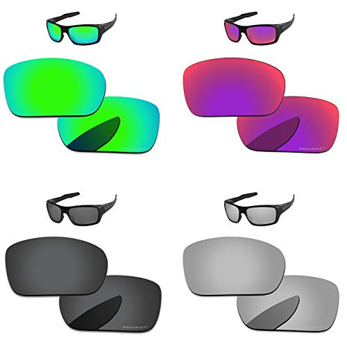PapaViva Lenses Replacement for Oakley Turbine Black Grey & Chrome Silver & Bluish Green & Midnight Sun
