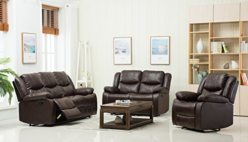 Container Furniture Direct S6038-3PC Royal Albert Faux Leather Upholstered Gliding Reclining Set 81