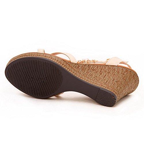 Tacones punta suave Sandalias abierta Material altos Beige con Hebilla sólidas AgooLar WHIp6qYS