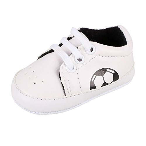 Fairy Season Toddler Prewalker Football Lace Up Sneaker Breathable PU Leather Trainers Shoes (3-6 months, Black)