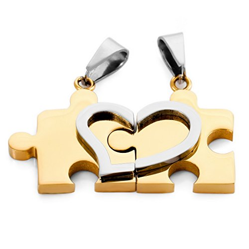 [INBLUE Men,Women's 2 PCS Stainless Steel Pendant Necklace Silver Gold Tone Jigsaw Puzzle Heart Love Couple -With 20 and 23 Inch Chain] (Jigsaw Costume Couple)