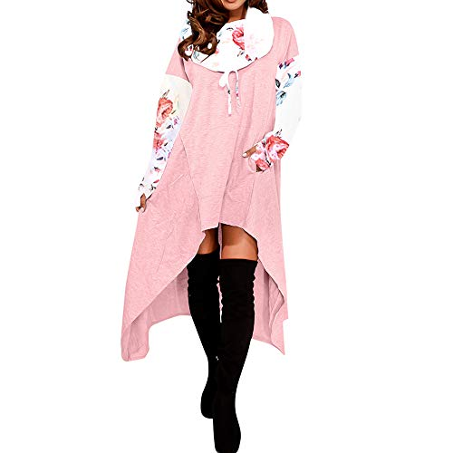 GOVOW Women Cotton Casual Soft Irregular Hem Hood Hooded Ladies Long Pullover]()